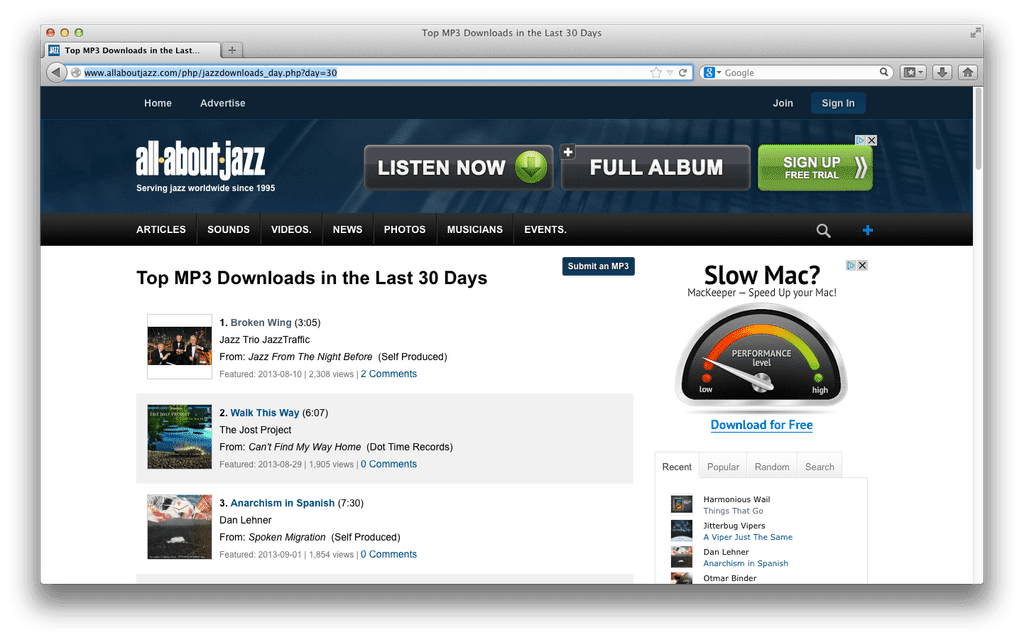 JazzTraffic op #1 jazz chart van all about jazz